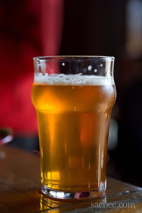 A 10 oz. glass of Pliny the Younger beer at the Russian River Brewing Company's brewpub in Santa Rosa.